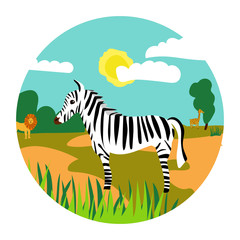 Safari illustration with zebra lion and girafe for book or stiker