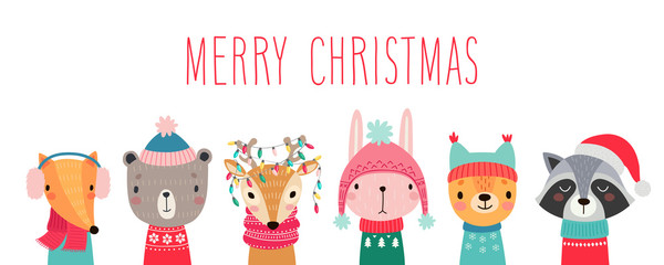 PrintChristmas card with Cute animals. Hand drawn characters. Greeting flyers.