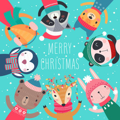 Fototapete - Christmas card with Cute animals. Hand drawn characters. Greeting flyers.
