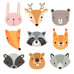 Fototapete - Cute animal faces. Hand drawn characters.