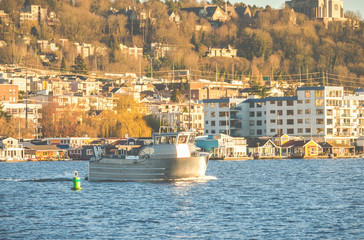 scene of a boat on the lake on sunny day with urban background,Seattle,Washington,USA.