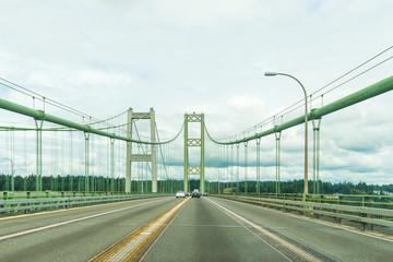 scene over the Narrows steel bridge in Tacoma,Washington,USA.