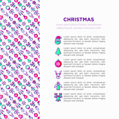 Christmas concept with thin line icons: Santa Claus, snowflake, reindeer, wreath, polar bear in hat, angel, mitten, candle, penguin, garland. Vector illustration, print media, web page template.