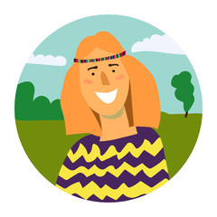 Vector portrait of smiling woman in a circle