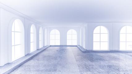 Light white empty interior with stone floor. 3d illustration, 3d rendering.