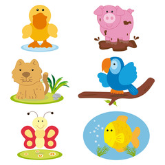 Set of animals in vector illustration