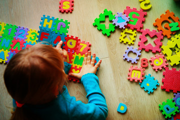 little girl learning numbers, education concept, education