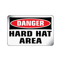Vector and Illustration graphic style,Danger Hard Hat Area label, Warning icon on white background,Attracting attention Security First sign,Idea for presentation,EPS 10.