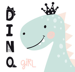Dinosaur baby girl cute print. Sweet princess with bow. Dino girl slogan