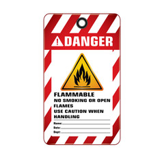 Vector,illustration graphic style,Danger Flammable No Smoking Tag,Red and white rectangle Warning Dangerous icon on white background,Attracting attention Security First sign,Idea for presentation.