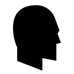 Abstract, flat black silhouette head (profile) illustration. Isolated on white