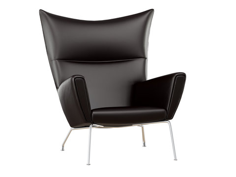 Black leather armchair on a white background 3d rendering