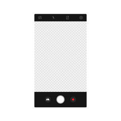 Camera app screen interface. Vector mockup photo composer.