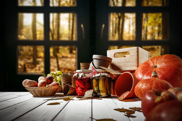 desk of free space and autumn window background