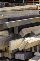 Marble and granite bars - remains from the production of tombstones