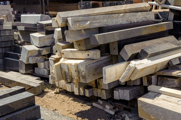Marble and granit  in the warehouse for making tombstones