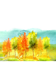 Watercolor background. Watercolor autumn landscape. Blossoming meadow, field, countryside landscape. Green Tree, blue sky. Silhouettes of forest, trees, wild grass. Watercolor logo, picture, banner