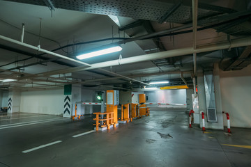 Entrance to underground car park, Parking ramp or barrier, modern city infrastructure