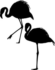 two flamingo silhouettes on white