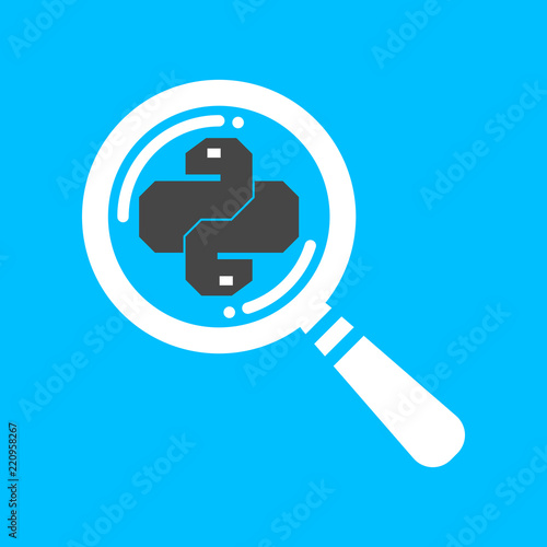 Flat linear search python code icon  Trendy snake vector