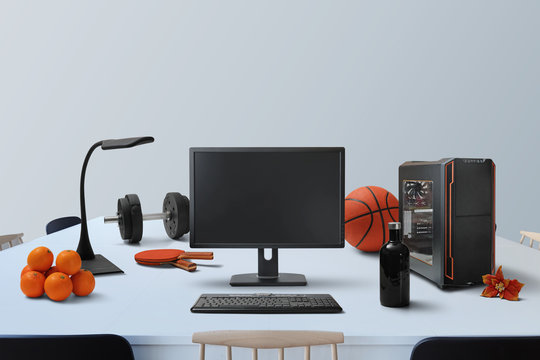 black and orange sports and gadgets scene