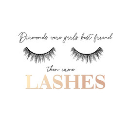 Diamonds were girls best friend then came lashes inspirational t-shirt design with lashes and ribbon. Feminine inspirational print. Vector illustration.