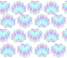 Holographic seashells seamless pattern on white background. Mermaid vector background