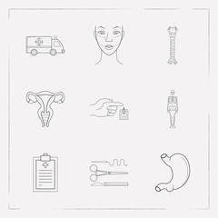 Set of organ icons line style symbols with ambulance, medical record, skeleton and other icons for your web mobile app logo design.