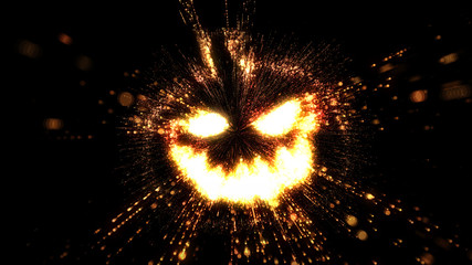 Glowing fiery jack o' lantern halloween pumpkin illustration with flying sparks