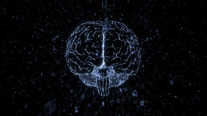 Digital brain image in cloud of exploding numerical data