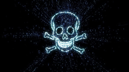 Glowing digital data skull and crossbones in cloud of exploding numerical values representing hacking and piracy