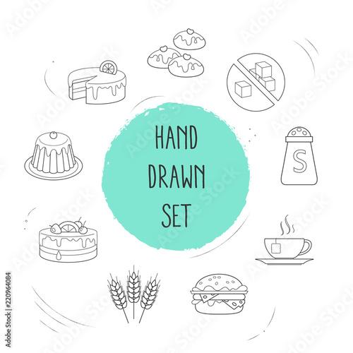 Set Of Food Icons Line Style Symbols With Salt Wheat Lemon Cake