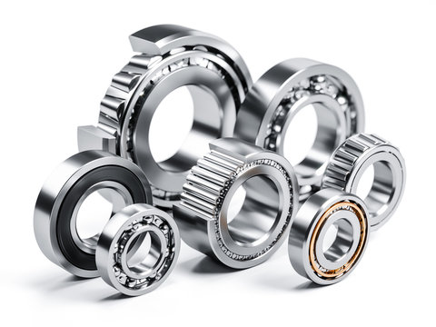 Group of ball bearings isolated on white 3d
