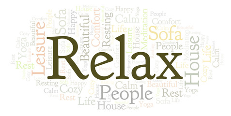 Relax word cloud.