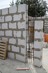 interior of a country house under construction. Site on which the walls are built of gas concrete blocks