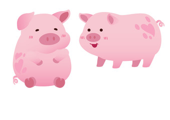 happy healthy pink pigs