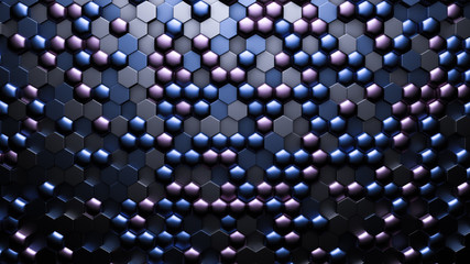 Blue black metallic background with hexagons. 3d illustration, 3d rendering.