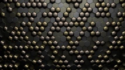 Golden black metallic background with hexagons. 3d illustration, 3d rendering.
