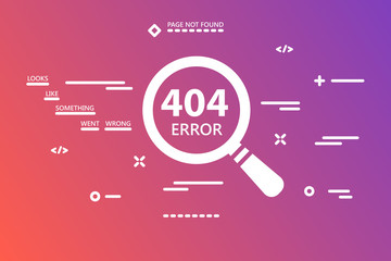 404 error page not found illustration with magnifying glass on gradient pink colored background with line art