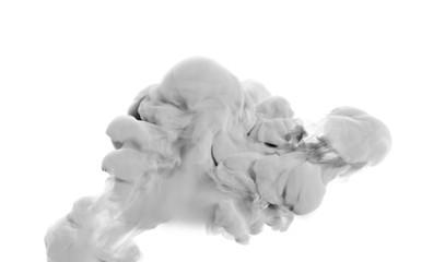 Light gray smoke on a white background. 3d illustration, 3d rendering.