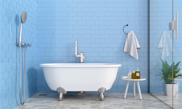 Blue bathroom interior, 3D rendering