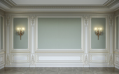 Сlassic interior in olive colors with wooden wall panels and sconces. 3d rendering.