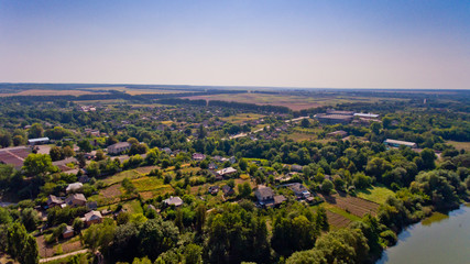 Aerial view of a typical village.
