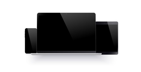 Set of realistic computer monitor, laptop, tablet and mobile phone with empty black screen. Various modern electronic gadget on white isolate background. Vector illustration EPS10