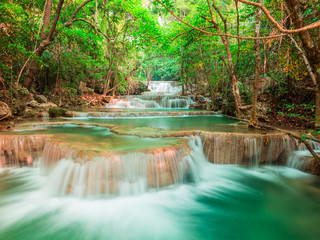 Wall Mural - Landscape waterfall in the forest, Thailand