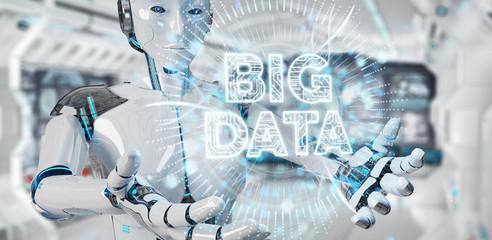 White humanoid woman using Big Data digital hologram 3D rendering