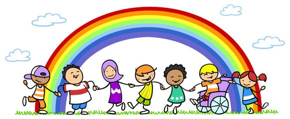 Viele verschiedene Kinder als Integration und Inklusion Konzept