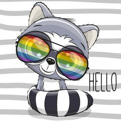 Cool Cartoon Cute Raccoon with sun glasses