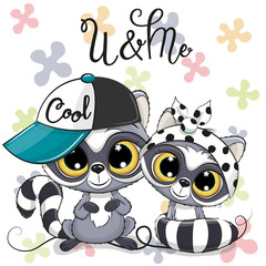 Two Cute Cartoon Raccoons boy and girl with cap and bow