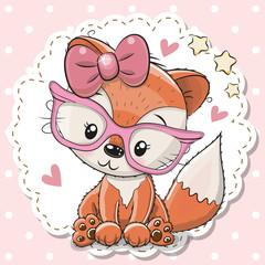 Cute Fox girl in pink eyeglasses